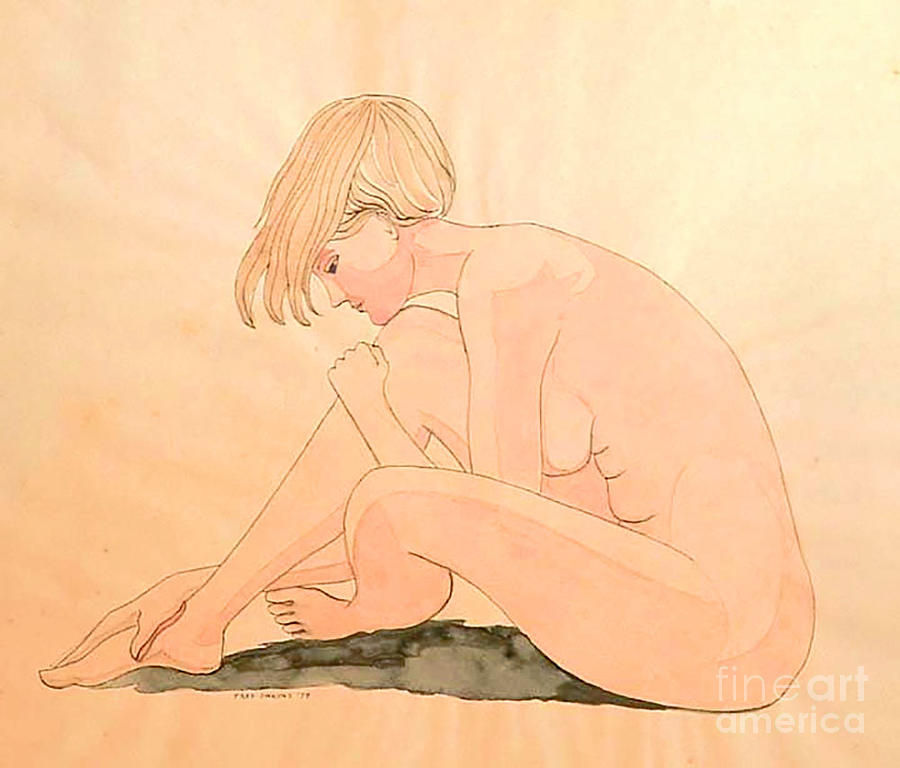 Life Drawing Painting - Life Drawing Watercolor by Fred Jinkins