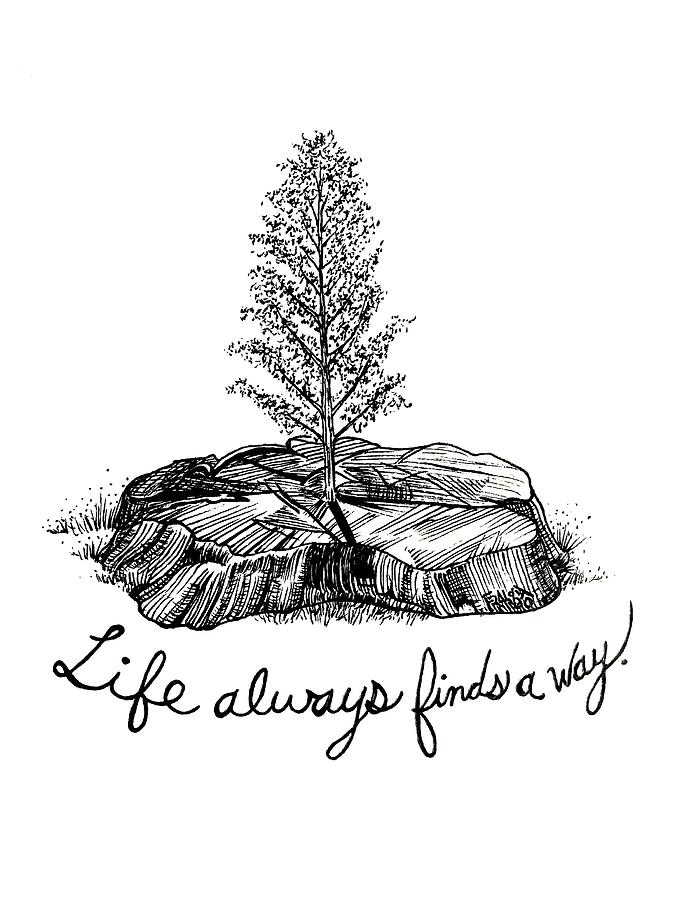 Pen And Ink Illustration Drawing - LIfe Always Finds A Way by Rick Frausto
