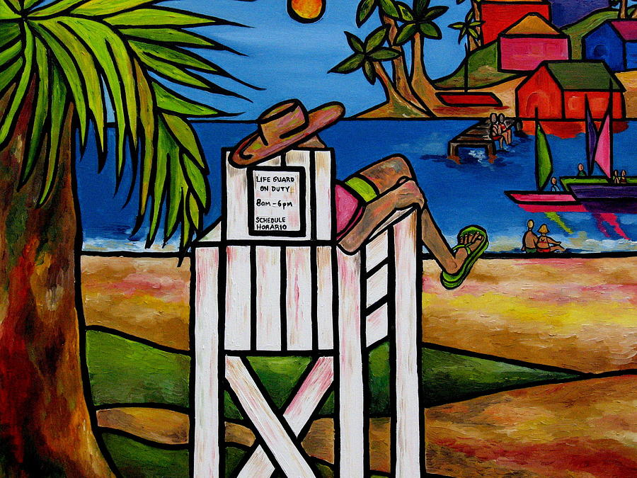 Life Guard Painting - Life Guard In Jamaica by Patti Schermerhorn
