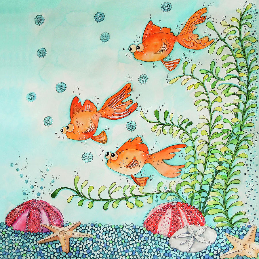 Sea Urchins Painting - Life In A Tank by Roleen  Senic