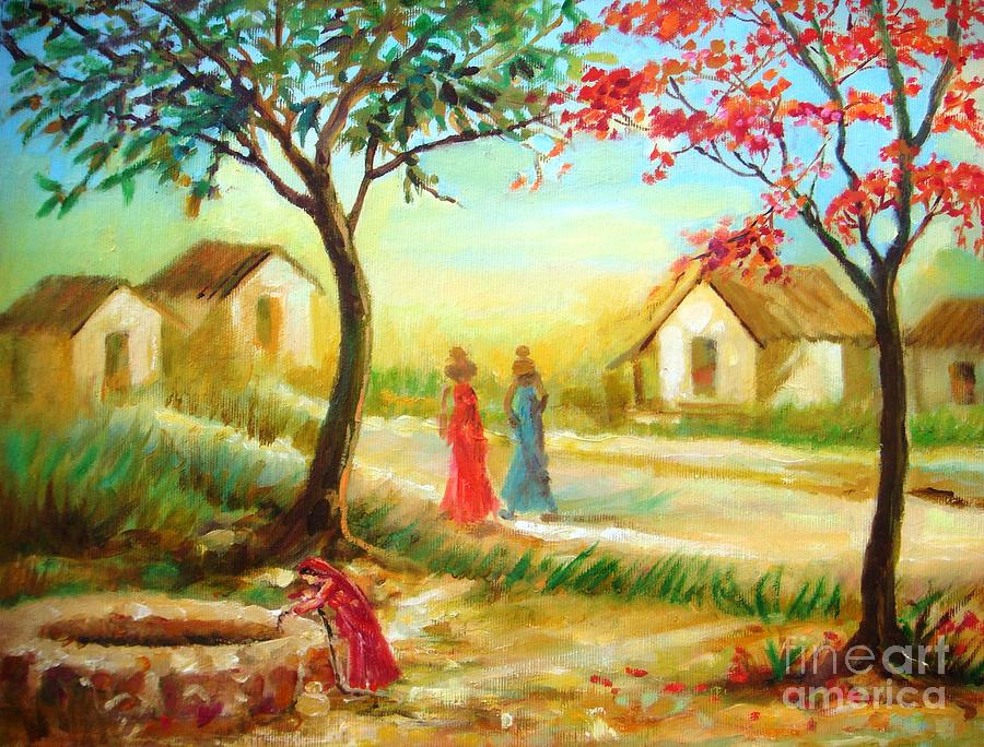 village painting pictures  Life In An Indian Village Painting by Ritu Surana
