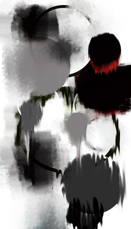 Digital Abstract Art Painting Digital Art - Life In Black And White by KR Moehr