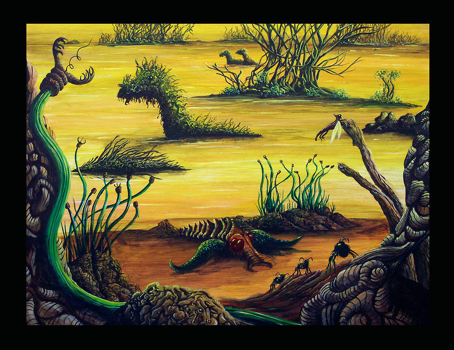 Sci-fi Painting - Life In The Golden Bogs Of Draconis II by Douglas Egolf