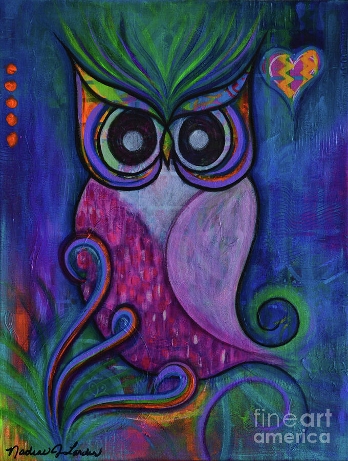 Owl Painting - Life is a hoot by Nadine Larder