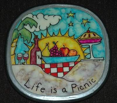Sunshine Mixed Media - Life Is A Picnic Lazy Susan by Mickie Boothroyd