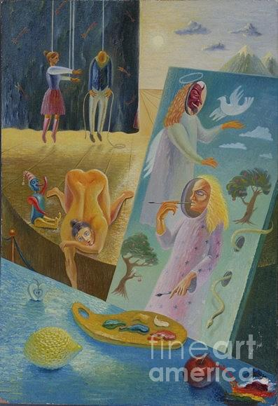 Surrealism Painting - Life Is A Play And People In It Are Actors by Denis Hmylnin
