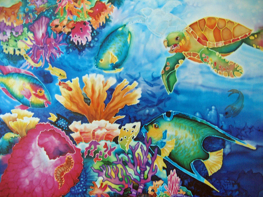 Fish Painting - Life On The Ledge by Deborah Younglao