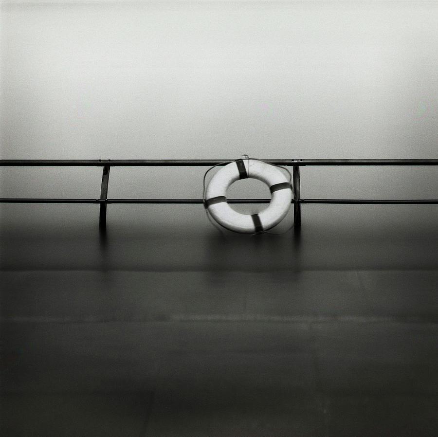 Horizontal Photograph - Life Ring On Boat In Yokohama Port by Spitz_uta97