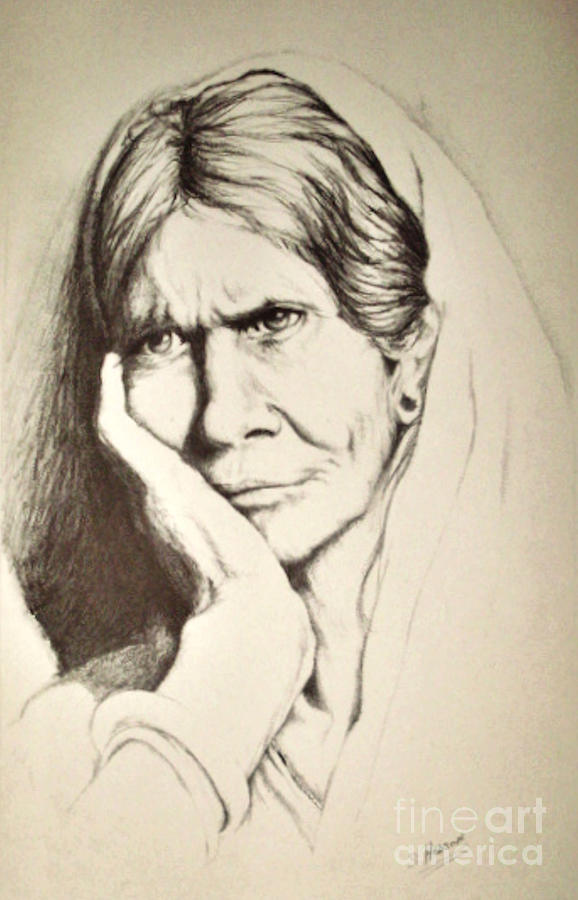 Old Woman Drawing - Life by Stephanie  H Johnson