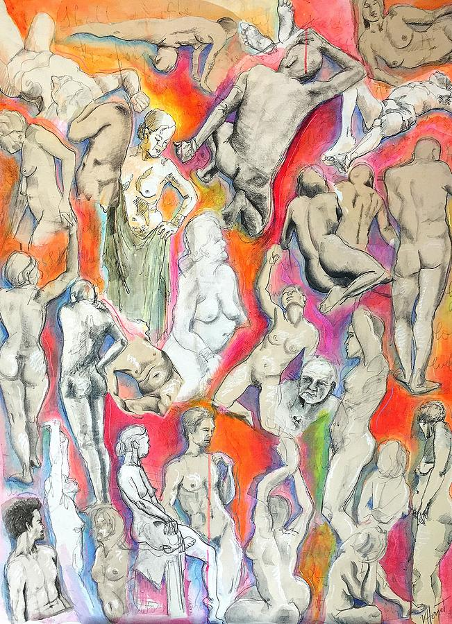 Nude Mixed Media - Life Study 1 by Victoria Heryet