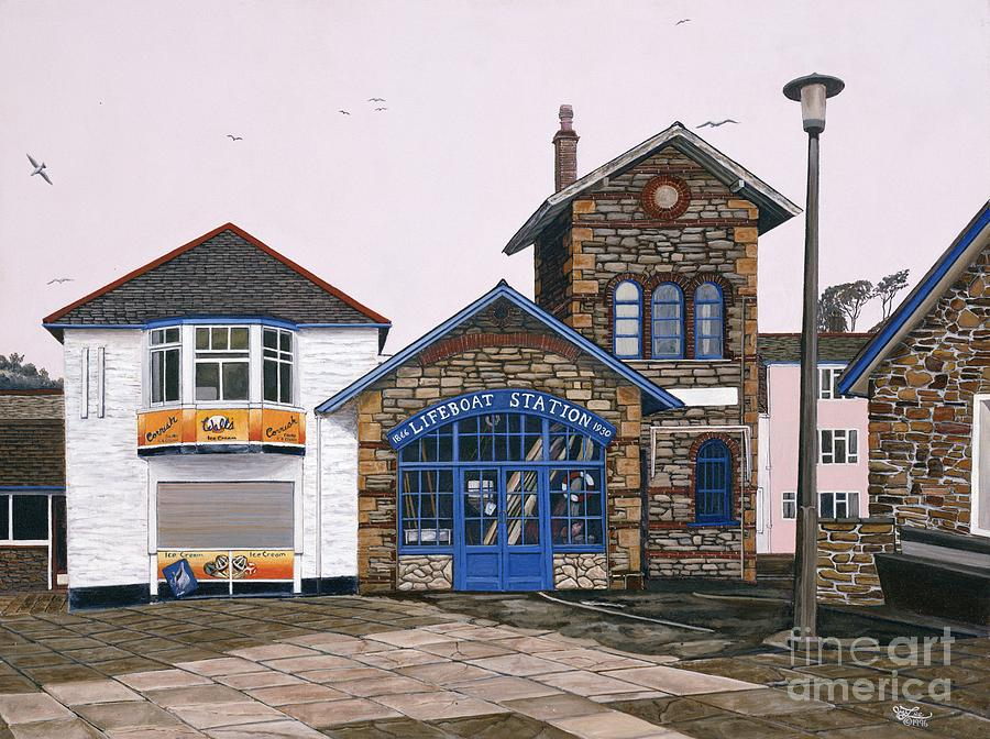 England Painting - Lifeboat Station by Jiji Lee
