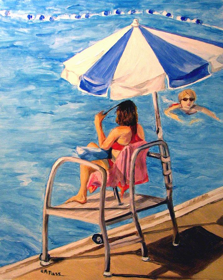 Original Oil Painting - Lifeguard At Ft. Belvoir by Cheryl Pass