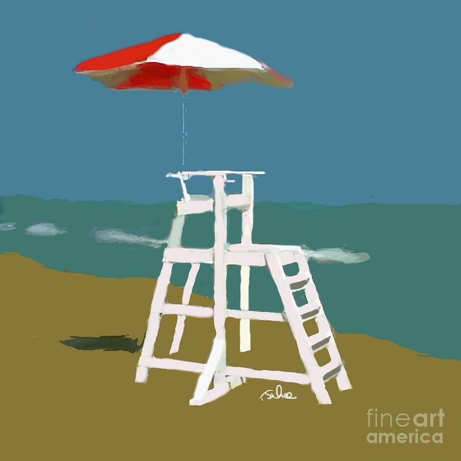 ee53ecdfa6d4 Beach Umbrella Digital Art - Lifeguard Chair by Tom Sachse