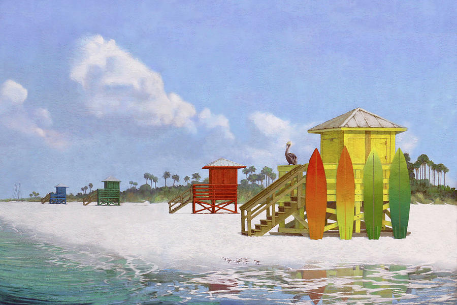 Lifeguard Stations on Siesta Key Public Beach by Shawn McLoughlin