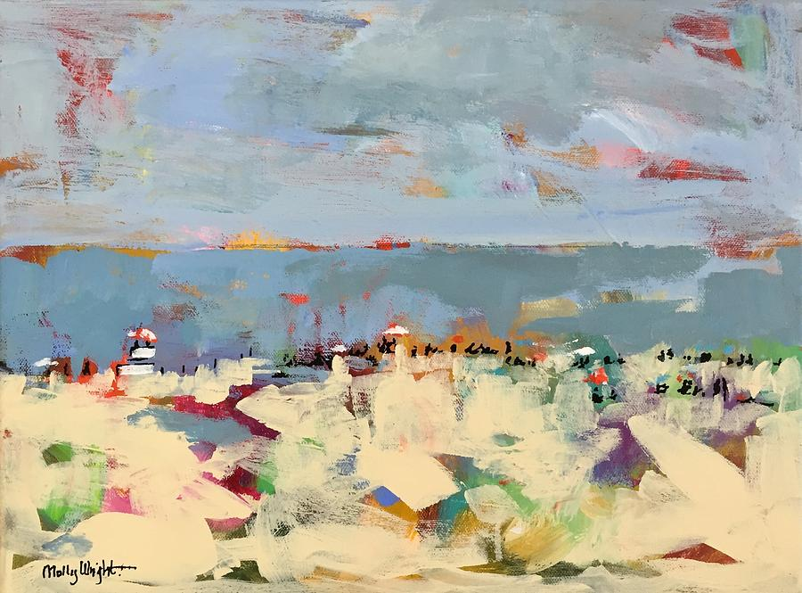 Beach Painting - Lifeguard Stand by Molly Wright