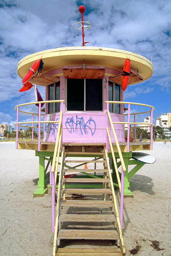 Beach Photograph - Lifeguard Station South Beach Miami  Florida by George Oze