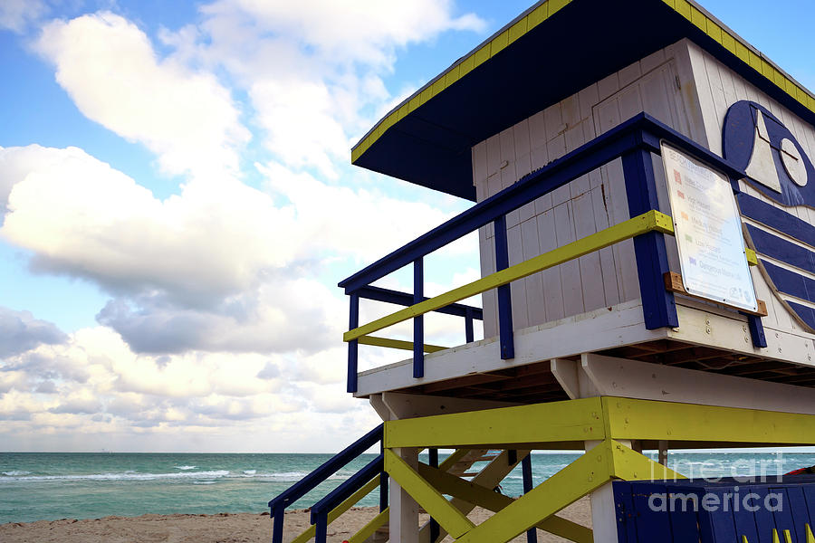 Lifeguard Chair Photograph - Lifeguard View On South Beach by John Rizzuto