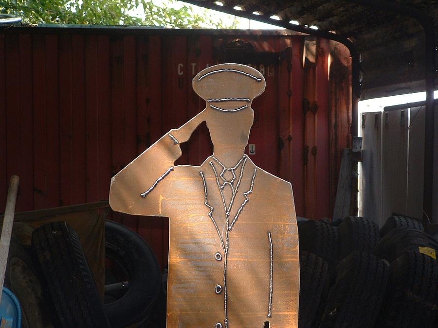 Steel Sculpture - Lifesize Soldier Memorial by Buzz Ferrell