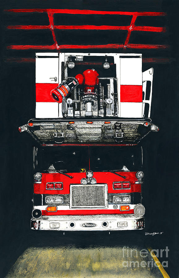 Firefighter Mixed Media - Lift by Kevin Scott Jacobs