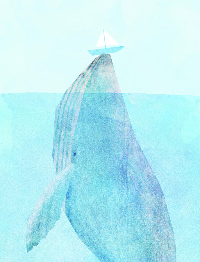 Whale Drawing - Lift Option by Eric Fan