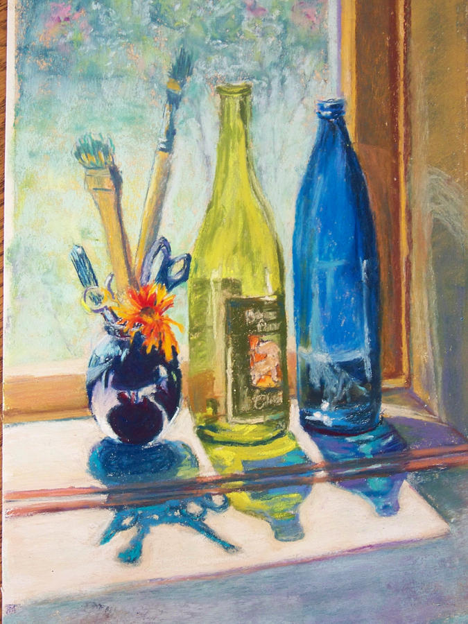 Bottles Painting - Light And Bottles by Laurie Paci