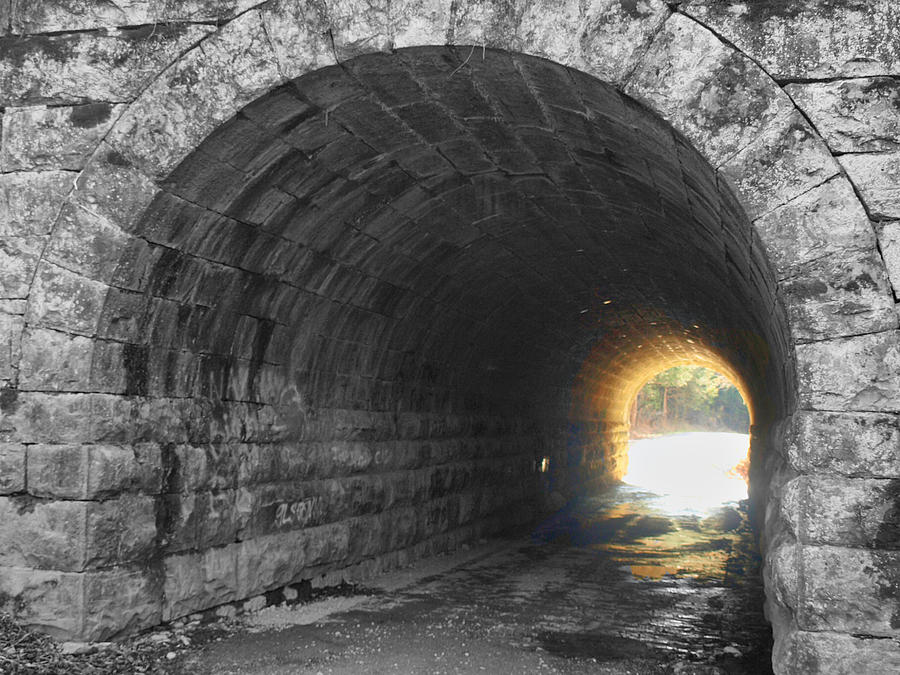 Tunnel Photograph - Light At The End by Kathy Jennings