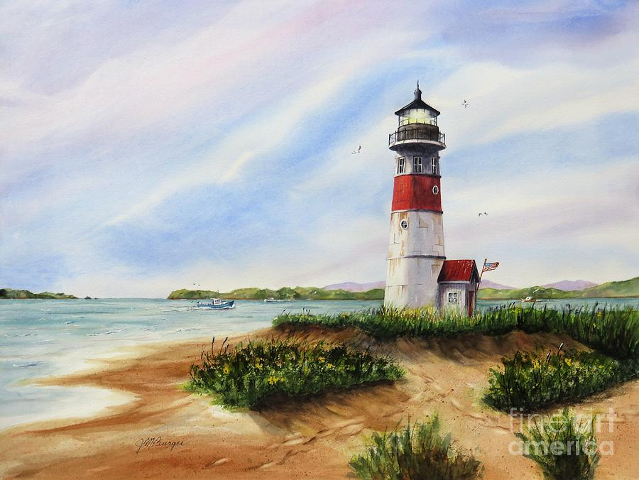 Lighthouse Painting - Light At The Inlet by Joseph Burger