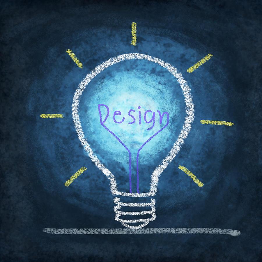 Blackboard Photograph - Light Bulb Design by Setsiri Silapasuwanchai