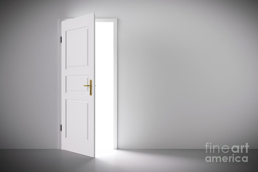 Door Photograph   Light Coming From Half Open Classic White Door. By Michal  Bednarek