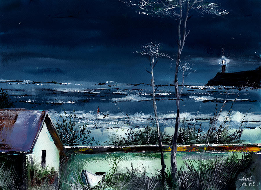 Nature Painting - Light House by Anil Nene