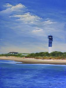 Beach Painting - Light House On The Beach-charleston-south Carolina by Jeanie Chadwick