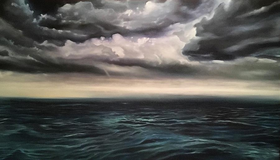 Ocean Painting - Light in the Darkness  by Darren Mulvenna