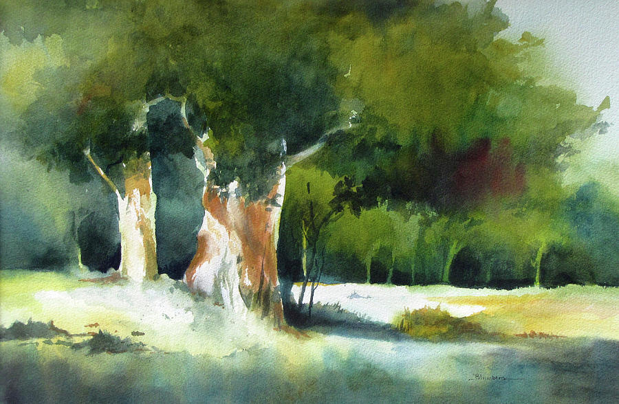 Landscape Painting - Light In The Forest by Mary Blumberg