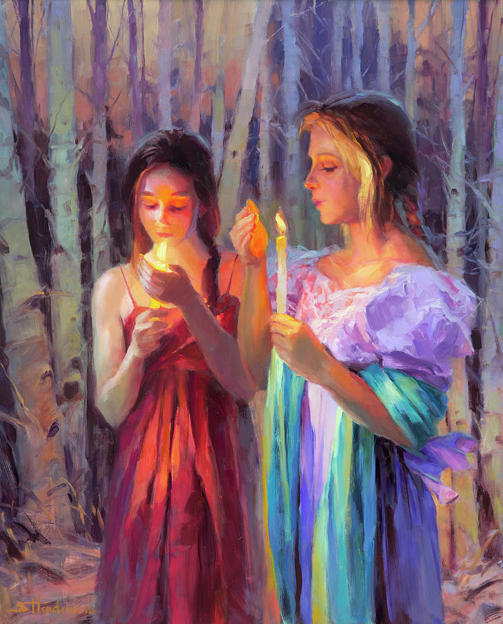 Forest Painting - Light in the Forest by Steve Henderson