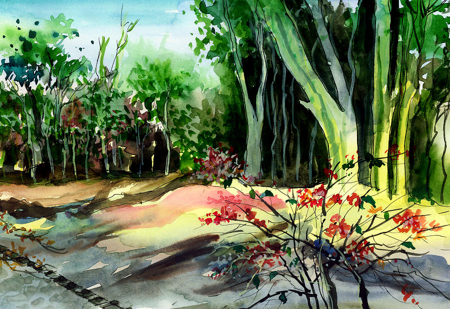 Watercolor Painting - Light In The Woods by Anil Nene