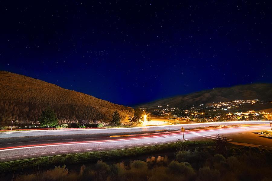 Light It Up Tonight, Long Exposure Of Somersett Traffic Light Trails And Stars On A Summer Night Photograph