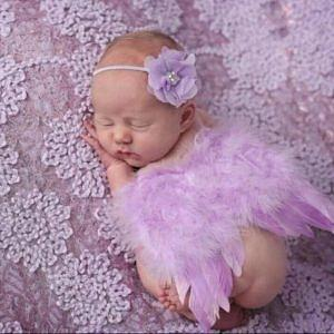 Angel Wings Photograph - Light Lavender Feather Wings With Flower Headband by Newborn Propsz