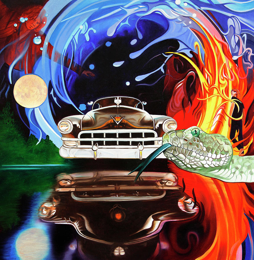 The Doors Painting - Light My Fire On A Moonlight Drive To The End by Joshua Morton