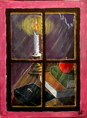 Window Painting - Light Of Knowledge by Walter Pierluissi