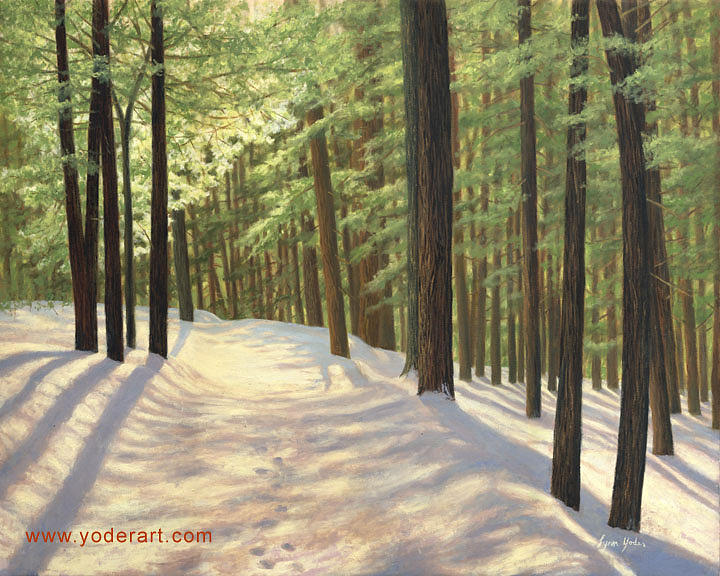 Snow Scene Painting - Light On My Path by Lynn Yoder