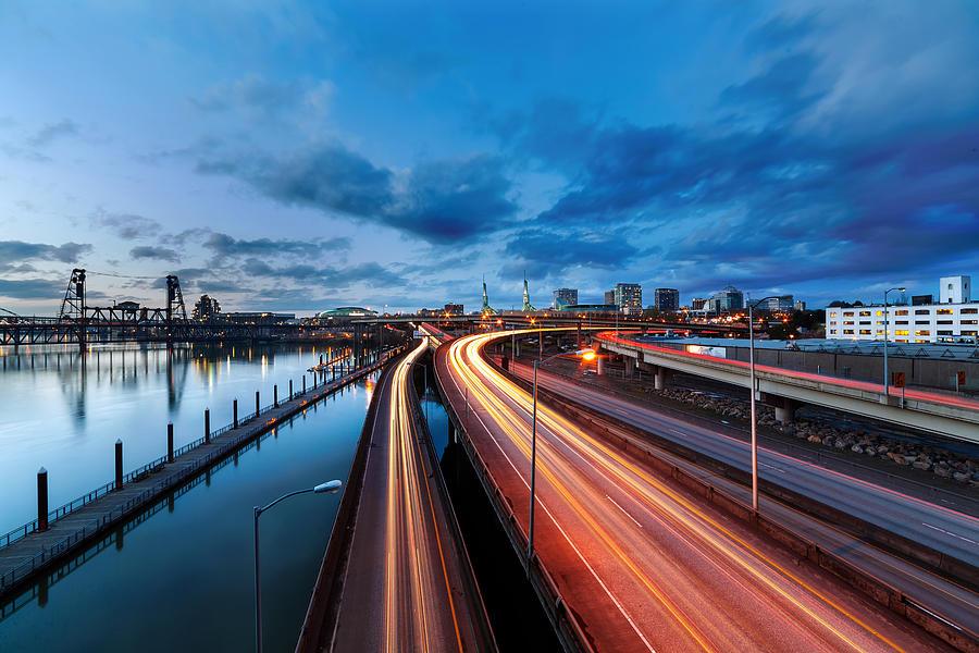 Portland Photograph - Light Trails Along Willamette River by David Gn