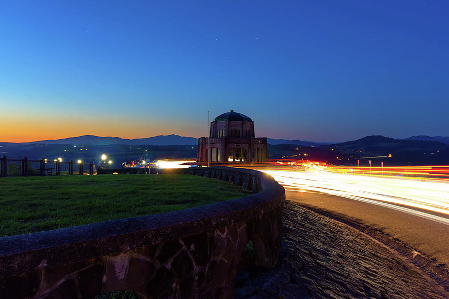 Cars Photograph - Light Trails Around Vista House On Crown Point by David Gn