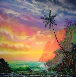 Island Painting - Light Whispers Its Secrets by Victor Kirton