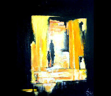 Abstract Figurative Painting - Light Yellow by Talal  Ghadban