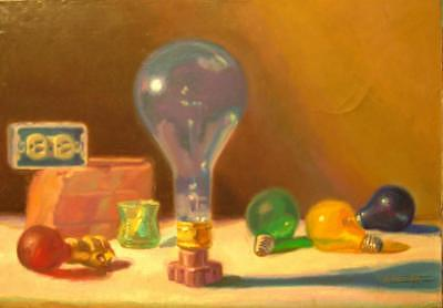 Lightbulbs Painting - Lightbulbs Homage To Walter Murch by David Dozier