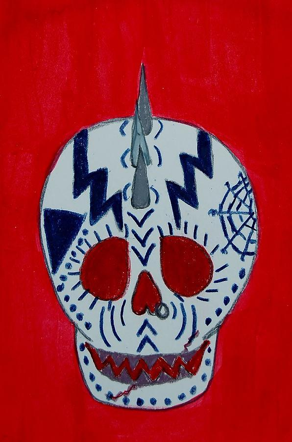 Spikes Mixed Media - Lightening Bolt Skull by Charla Van Vlack