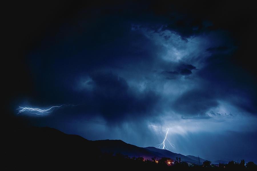 Lightening Photograph - Lightening Cache Valley Utah by Shandi Hansen