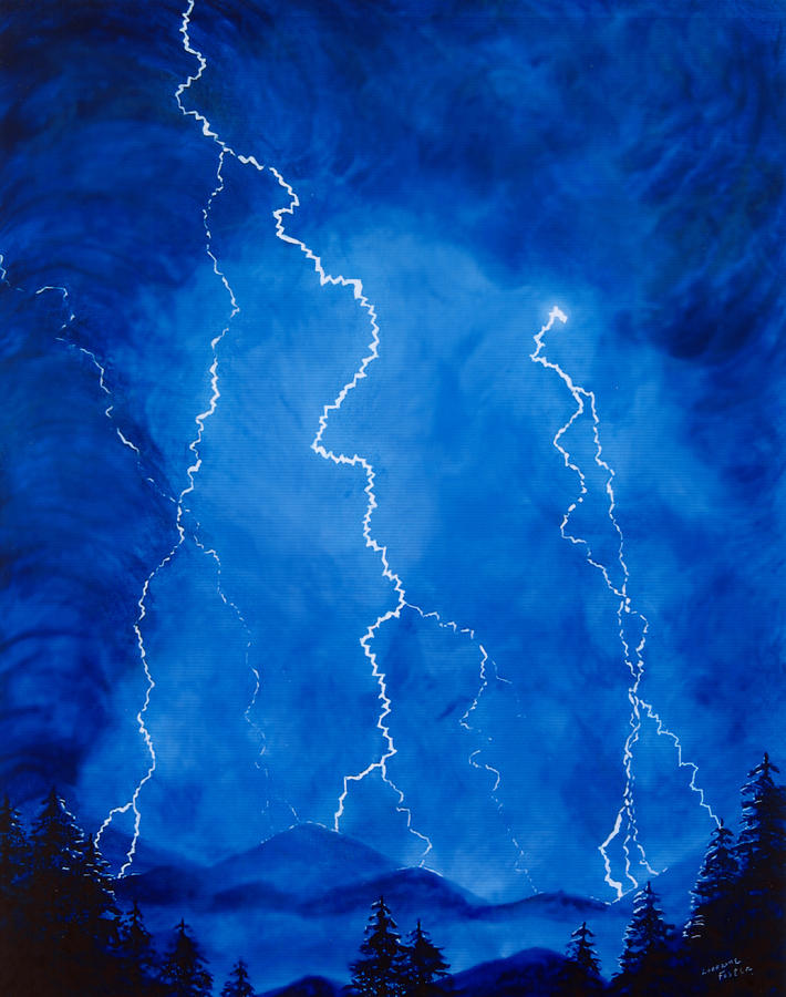Lightening Painting - Lightening Storm In The Mountains by Lorraine Foster