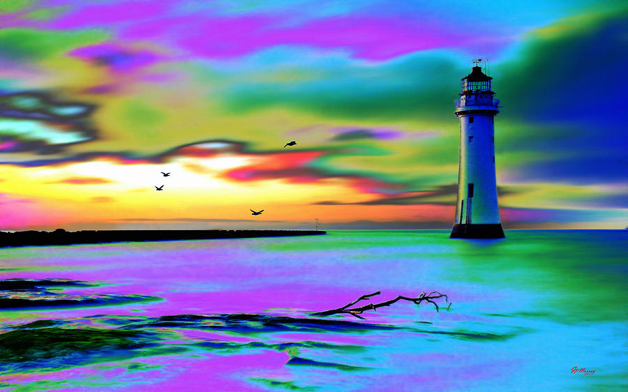 Water Digital Art - Lighthouse 2 by Gregory Murray