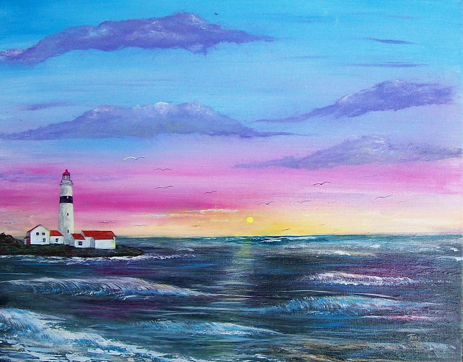 Seascape Painting - Lighthouse  5 by Tony Rodriguez